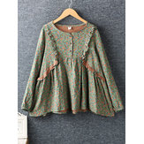 Women Cotton Floral Print Lace Patchwork Long Sleeve Blouse