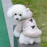 British Style Horn Button Pet Dog Cotton-Padded Coat