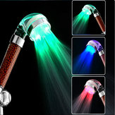 Bathroom 3 Colors LED Light Automatic Temperature Sensor Negative Filiter Ball Shower Head