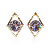 Fashion 18K Gold Plated Unique Design Punk Colorful Natural Stone Ear Stud Women Earrings Best Gift