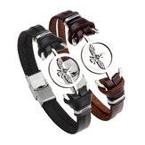 Fashion Stainless Steel Eagle Charm Genuine Leather Bracelet