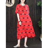 Original Women Vintage A-line Polka Dot Dress with Pockets