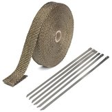 25mmx15m Exhaust Heat Wrap Insulation Pipe Tape Titanium Glass Fiber With 6 Stainless Ties