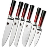 XYj 6PCS / Set Stainless Steel K-nives Accessories  8'' Chef 8''Slicing 8''Bread 7''Santoku Knife5''Utility Kn ife3.5''Fruit K nife Vegetable Cutter