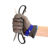Safety Cut Proof Stab Resistant Stainless Steel Metal Mesh Butcher Glove Blue