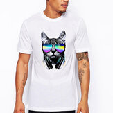 Fashion Mens Animal Pattern Printing Casual Personality O-neck Short Sleeve T-shirt
