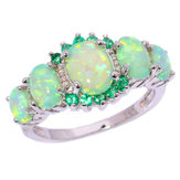 Green Fire Opal & Emerald Wedding Ring Women Jewelry Gems