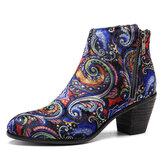 SOCOFY Pattern Velvet Cloth Ankle Boots