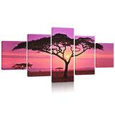 Grand coucher de soleil et arbre, impression sur toile, peintures murales, tableau, cadre, décorations pour la maison