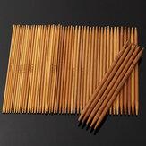 55pcs 11 tailles de bambou carbonisée à double aiguilles à tricoter pointues chapeau pull écharpe crochet crochet