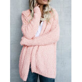 Women Fuzzy Solid Color Hooded Outwear Coats