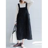 Casual Women Solid Color Loose Strap Dress avec poche