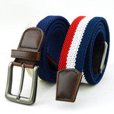 Mens Women Unisex Elastic Stretch Pin Buckle Belt Casual Weaving Jeans Waistband Strip