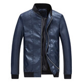 Mens Slim Baseball Collar Solid Color Faux Leather Jacket