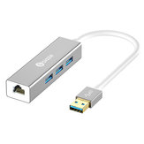 Biaze ZH17 Aluminum Alloy USB 3.0 to 3-Port USB 3.0 + 1000Mbps Gigabit RJ45 Ethernet Hub