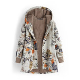 Floral Print Thicken Winter Long Sleeve Vintage Coats