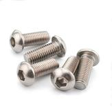 Suleve™ M6CH3 50Pcs M6 Carbon Steel Hex Socket Button Head Screw Bolts 10-20mm