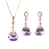 Elegant Purple Gem Pendant Rose Gold Chain Jewelry Set Unique Twisted Necklace Earrings for Women