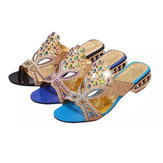 Women Summer  Beach Sandals Rhinestone Slip On Sandals Platform Sandals