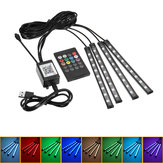 4Pcs 9LED RGB Car Floor Strip Lights Interior Atmosphere USB Charger Decor Lamp