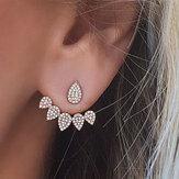 Trendy Flower Earrings Gold Silver Full Rhinestones Ear Stud Gift for Women