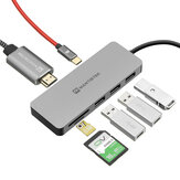 MantisTek® H3 7-In-One Type-C to USB 3.0 4K Display PD Charge Hub TF SD Card Reader