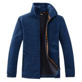 Mens Outdoor Polar Fleece Warm Jacket Stand Collar Sweater