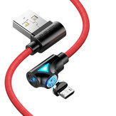 FLOVEME 90 Degree Angle Micro USB LED Magnetic Braided Fast Charging Data Cable 1M For Smart Phone