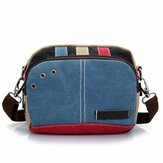 Women Canvas Crossbody Bags Contrast Color Casual Small Shoulder Bags Messenger Bags