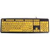Teclas amarillas gran impresión USB teclado de computadora de alto contraste carta negro para la anciano