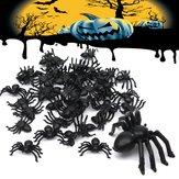 50pcs Halloween arañas de plástico araña divertida decoración juguete broma