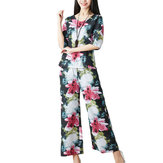 Original Women Casual Floral Print T-shirt Loose Wide Leg Pant