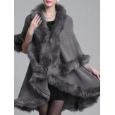 Elegant Faux Fur Patchwork Women Cloak Coats