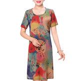Summer Mother Dress Personalized Floral Printed Chiffon Straight Dress