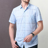 Original Summer Soft Comfy Silk Plaid Pocket Short Sleeve Shirts