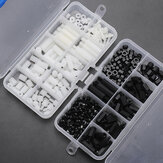 Suleve™ M3NH6 300Pcs M3 Nylon Screw White&Black Hex Screw Nut PCB Standoff Spacer Assortment Kit