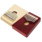 Original 10 tonos de color rojo / natural portátil de madera Kalimba Thumb Piano Finger Percussion