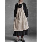 S-5XL Vintage Women Pure Color Pockets Cotton Linen Dress