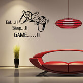 "Original Creative Art Game Handle Wall Stickers ""EAT SLEEP GAME"" Black Vinyl Removable Printed Game Lovers Bedroom Wall Stickers Hot Play Game Handle Living Room Bedroom Personality Decoration Wall Stickers"