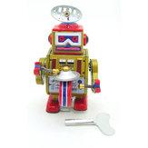 Classic vendimia Clockwork Wind Up Drum tocando robots de reminiscencia niños niños juguetes de hojalata con llave