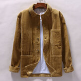 Mens Corduroy Winter Loose Button Fly Coats