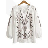 Original Embroidered Long Sleeve Lantern Sleeve Patchwork Blouse