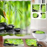 Tapisantidérapantenbambourecouvertde tapis de toilette Rideau de douche avec 12 anneaux