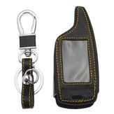 Original 4 Botones Two Way Coche Sistema de alarma Leather Coche Key Caso Bolsa Para Magicar 5/6 LCD
