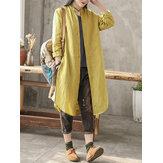 Original Casual Women Cotton Loose Solid Color Button Long Blouse