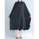 Original Plus Size Women Batwing Sleeves Stripe Shirt Dress