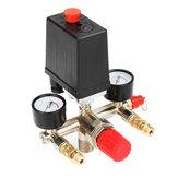 90-120PSI Air Compressor Pressure Switch Control Valve Manifold Regulator Gauge