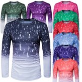Mens Fashion Design Gradient Printed Tops Tees Long Sleeve Round Collar T-shirt