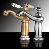 Antique Bronze Brass Faucet Hot & Cold Mixer Tap Ceramic Handle Bathroom Golden Single Water Tap