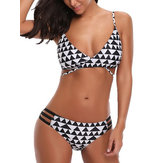 Original Printed Adjusted Straps Padded Mid Waist Bikini Set